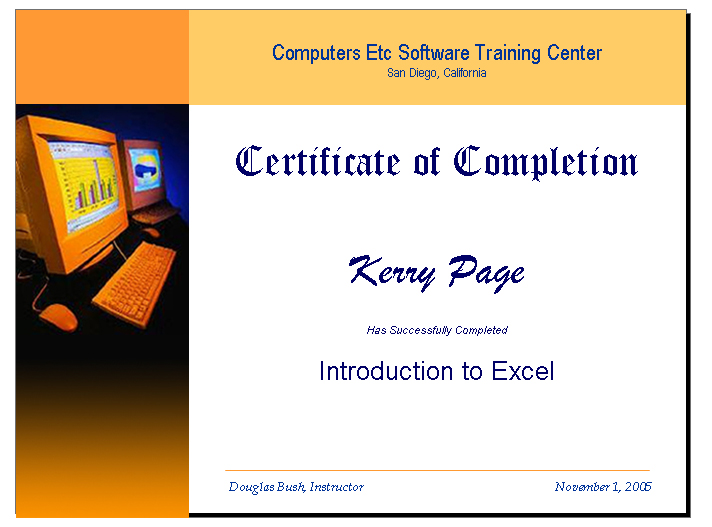 computer training certificate for access excel powerpoint